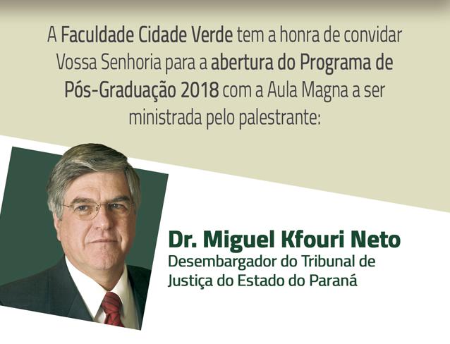 Neste sábado Desembargador Dr. Miguel Kfouri ministrará aula magna