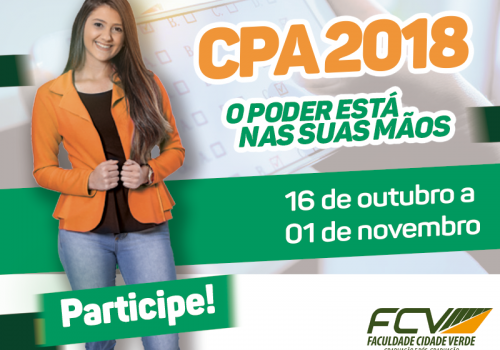 Chegou a hora de avaliar a Instituição na CPA 2018