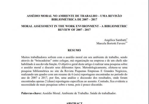 Aluna e professora da UniFCV publicam artigo sobre o assédio moral no ambiente de trabalho
