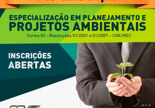 Inscrições abertas para a pós em Planejamento e Projetos Ambientais da FCV