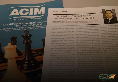 Revista da ACIM traz artigo de professor FCV