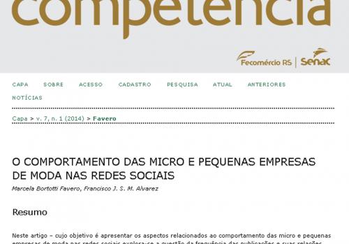 Revista Competência publica trabalho de professora da FCV