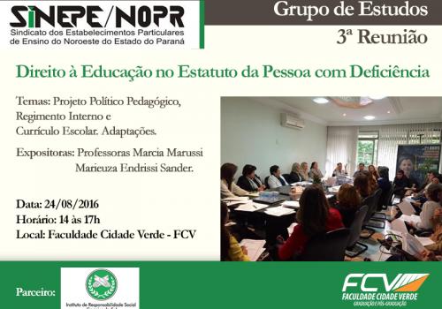 Educação para pessoas com deficiência será tema de reunião do Sinepe na FCV
